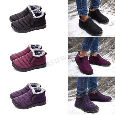 Womens Ladies Winter Fur Lined Snow Flat Shoes Slip On Waterproof Ankle Boots