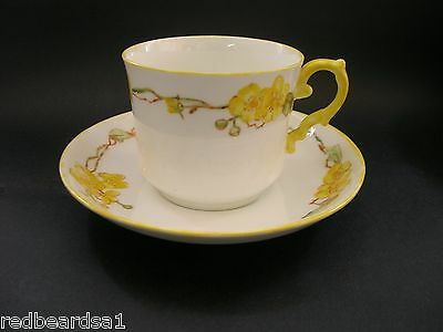 AYNSLEY Vintage Art Deco English Bone China TEA CUP & SAUCER Hand Painted Floral
