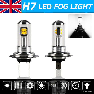 NIGHTEYE 2x H7 80W LED Fog Light Bulb Headlight 1500Lm/Set 6000K White Bright UK