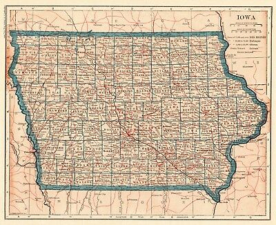 1921 Antique IOWA State Map Vintage Map of Iowa Gallery Wall Art Home Decor 6316
