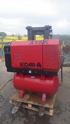 ECOAIR A15 Screw compressor + receiver,8bar,272 litre,only 73cm wide ,INC VAT