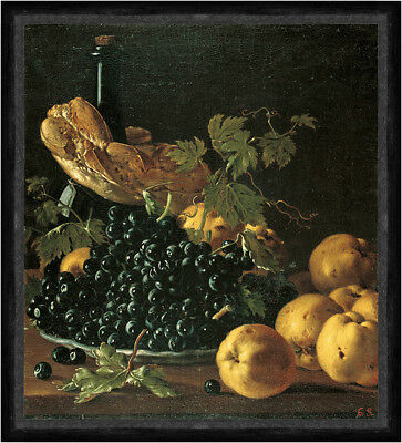 Still Life with Bread, Apples, Grapes and a Bottle Melendez Trauben Faks_B 02837