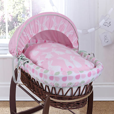 New Clair De Lune Rabbits Pink Dark Wicker Baby Moses Basket & Mattress