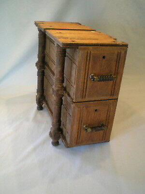 Antique / Vtg Wooden Treadle Sewing Machine Drawers ~2 Drawer Unit