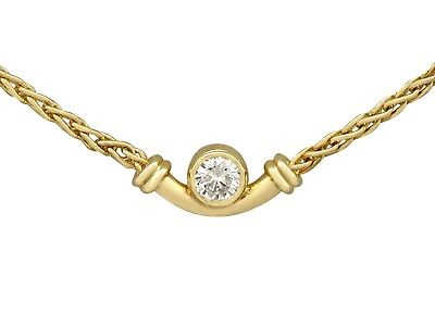 Vintage Italian 0.17 Ct Diamond and 18k Yellow Gold Necklace 1988