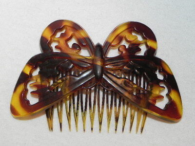 Vintage Faux Tortoise Shell Butterfly Brown Hair Comb Goody Made In USA