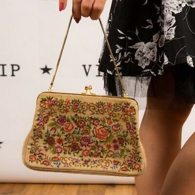 Vintage petit point needlepoint tapestry embroidered evening bag