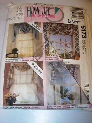 CUT MCCALLS SEWING Pattern 5173 HOME DECOR CRAFTS CURTAINS DRAPERY VALANCE