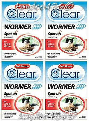 Bob Martin Clear Spot on Cat & Kitten Wormer 4 Tube Multi Pack DeWormer