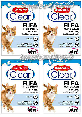 4 x Bob Martin Clear Flea 3 Tablets for Cats & Small Dog Puppies Under 11kg 2021