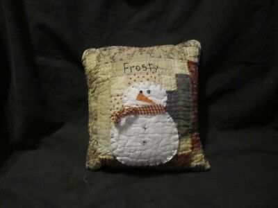 Primitive log cabin quilt pillow - snowman - Frosty - winter