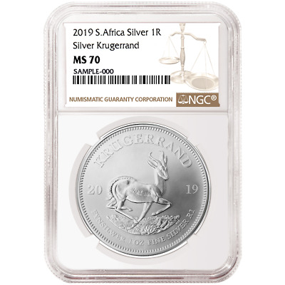 2019 South Africa Silver Krugerrand 1oz NGC MS70 Brown Label