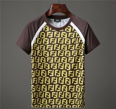 Fendi New Style T Shirts Men Short Sleeve T Shirt Round Neck 100% Cotton 2018