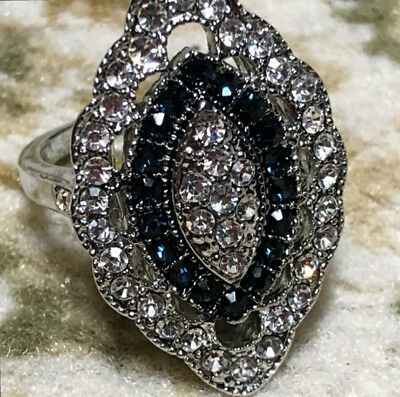 Vintage Art Deco Large 925 Sterling Silver Blue Sapphire Diamond Marquis Ring