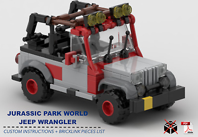 Jurassic Park World Jeep Wrangler Car CUSTOM INSTRUCTIONS ONLY for LEGO Bricks