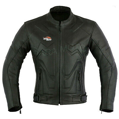 Real Leather Black Cow Hide Motorcycles Mens Winter Motorbike Jacket CE Armour