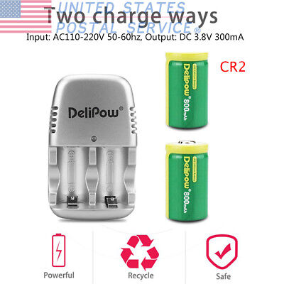 2-Pack CR2 Rechargeable Batteries 3V 800mAh Lithium With Charger For Flashlights