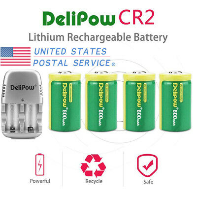 4-Pack CR2 3V 800mAh Rechargeable Lithium Batteries+Charger For Golf Rangefinder