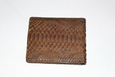 100% Real Genuine Belly Python Snake Skin Leather Wallet Brown Mens Bifold Purse