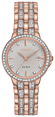 Citizen rose gold-tone eco-drive crystal watch for women