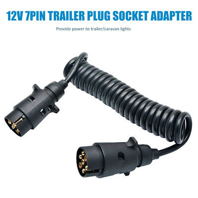 7Pin 12V 3m Spring Cable Cord Trailer Plug Socket Adapter Wiring Connector #