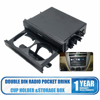 Universal Double Din Radio Pocket Drink-Cup Holder +Storage Box for Car Truck #