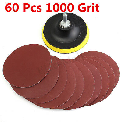 "10Pcs 4"" Sanding Disc Sandpaper Hook Loop 1000 Grit + Drill Adapter + Backer Pad"