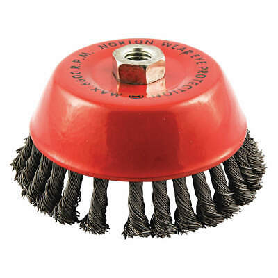 NORTON Cup Brush,Knotted,6 dia.,Arbor Hole, 66252839091