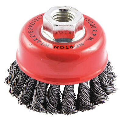 NORTON Cup Brush,Knotted,3-1/2 dia.,Arbor Hole, 66252838813