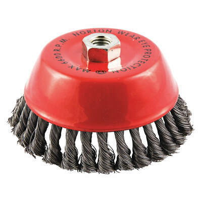 NORTON Cup Brush,Knotted,6 dia.,Arbor Hole, 66252839037