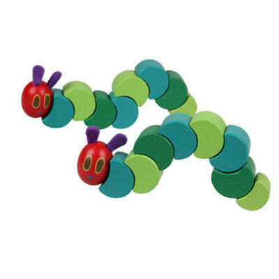 Funny Very Hungry Caterpillar Toy Wooden Blocks For Baby Fingers Flexible