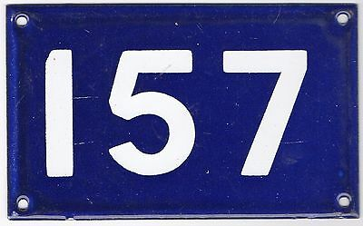 Old Australian used house number 157 door gate enamel metal sign in French blue