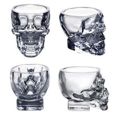 Home Bar Crystal Beer Glass Ware Vodka Whiskey Skull Head Shot Drinking Cup PK