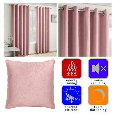 Pink Eyelet Curtains Blush Thermal Blockout Energy Saving Ring Top Curtain Pairs