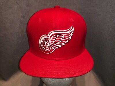 promo code 6a54c 12c36 New Era 59Fifty NHL Hockey Cap Detroit Red Wings Mens Red Fitted 5950 Hat  Size 7