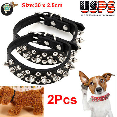 2X Personalized Dog Collars Leather Pet ID Collar Name Engraved Free for Dogs XS