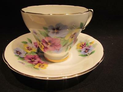 Delphine Vintage Bone China Pansy Design Tea Cup & Saucer
