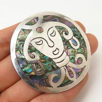 925 Sterling Silver Vintage Mexico Abalone Shell Tribal Pin Brooch/Pendant