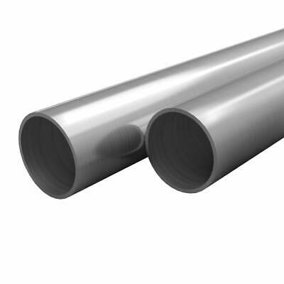 vidaXL 2x Stainless Steel Tubes Round V2A 2m 38x1.9mm Hollow Pipe Bar Rod