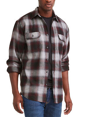 d53d8e86 George Mens Large Long Sleeve Burgundy Combo Flannel Shirt New Without Tags