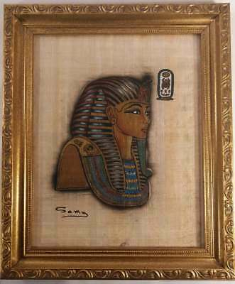 Beautiful Gold Framed King Tut Egyptian Papyrus Paper Painting - Signed