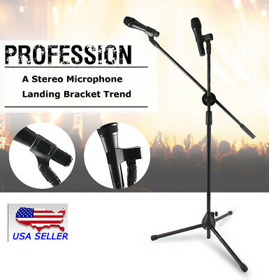 USA 360-degree Rotating Microphone Stand Dual Mic Clip Boom Arm Foldable Tripod