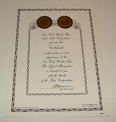 1964 1965 New York World's Fair Certificate Of Appreciation Of Appearance - Nywf