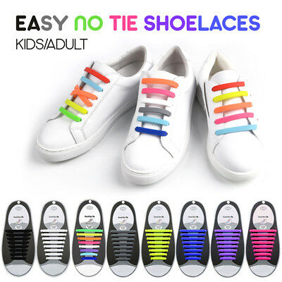 Easy Lazy No Tie Elastic Silicone Shoe Laces Cool Shoelaces Unisex Kids Adult