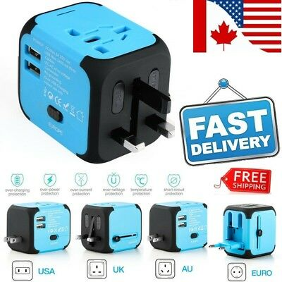 Universal International Travel AC Power Charger Adapter Plug Converter 2USB PORT