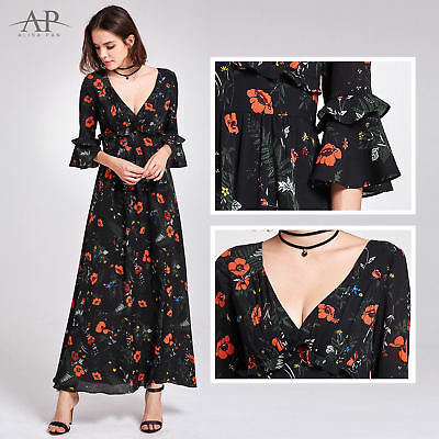 4e07480d4133f Alisa Pan Long Floral Printed Summer Dresses Bell Sleeve Casual Dresses  07170