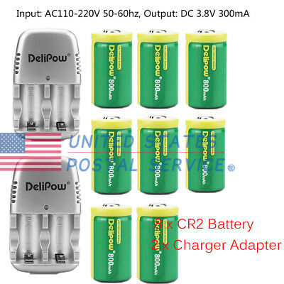 8-Pack Lithium Battery 3V 800mAh Rechargeable+2Pcs Charger CR2 Battery Adapter