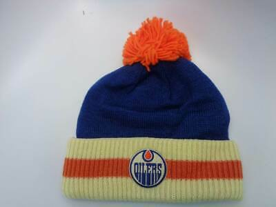 b04192f63a0 Edmonton Oilers CCM NHL Knit Cuffed Pom Ribbed Blue Orange Hat Cap Toque  Beanie
