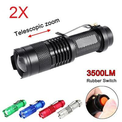 2pcs Mini Q5 LED Flashlight 14500 AA Torch 1200LM Zoomable Lamp Light PK