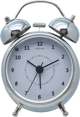 Nextime Retro Alarm Clock Wake up Ø 9cm Silent Metal Silver Diameter 9cm Table